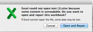 Excel could not open test(1).xlsx because some content is unreadable. Do you want to open and repair this workbook?